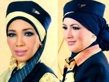 لاول مرة: مضيفات طيران مصر بالحجاب
