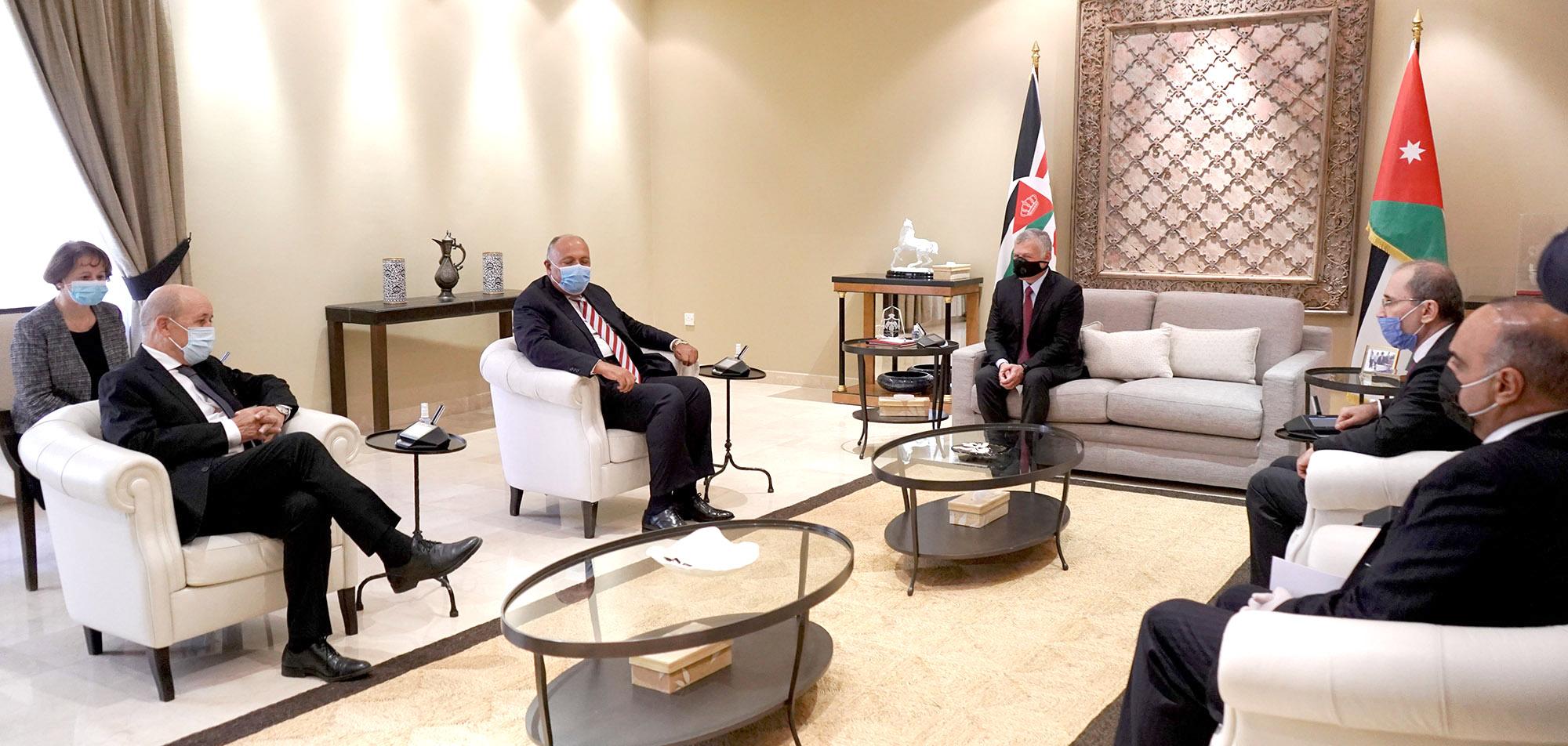 الملك يستقبل وزيري خارجية مصر وفرنسا والممثل الخاص للاتحاد الأوروبي لعملية السلام في الشرق الأوسط