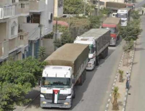وصول شاحنة مساعدات أردنية محملة بالأدوية لقطاع غزة