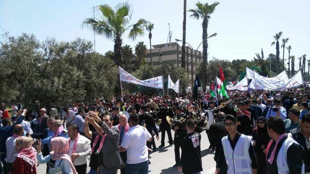 مسيرات تأييد لمواقف جلالة الملك تجاه القدس في الكرك وعجلون ومأدبا