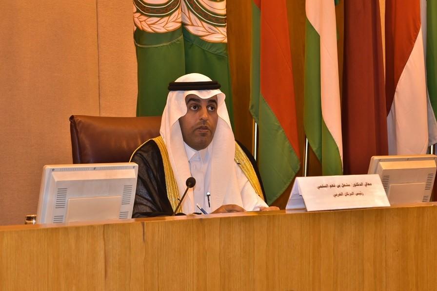 رئيس البرلمان العربي السلمي يدعو للتصدي بحزم للمشاريع التخريبية العدوانية ودعم صمود الفلسطينيين