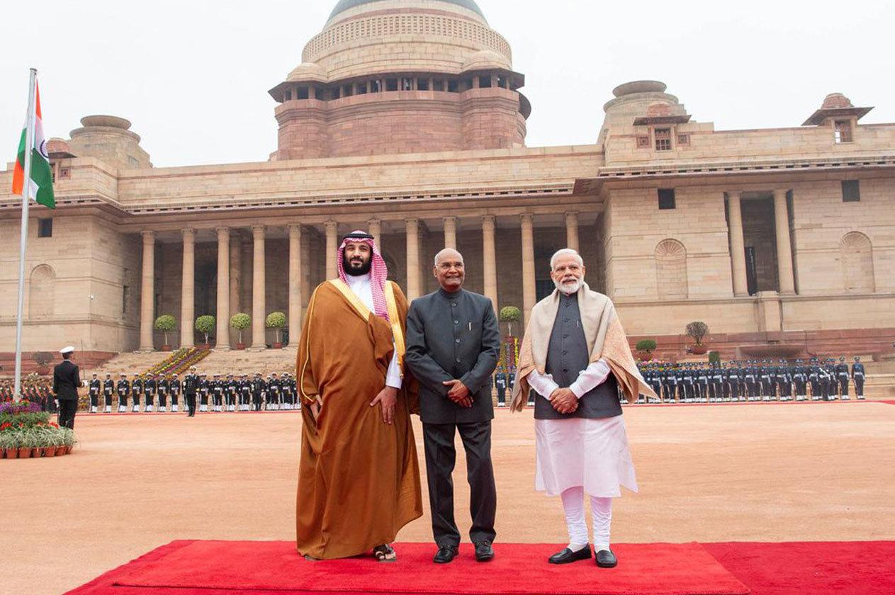 الهند تستقبل ولي العهد في قصر الرئاسة بنيودلهي