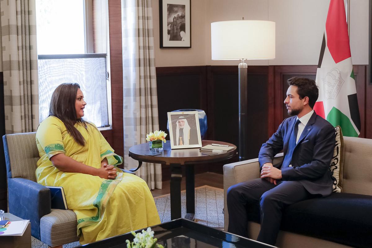 سمو الأمير الحسين بن عبدالله الثاني ولي العهد يستقبل مبعوثة الأمم المتحدة للشباب