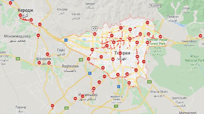"""خرائط """"جوجل"""" تظهر شللاً تاماً في طرق طهران"""