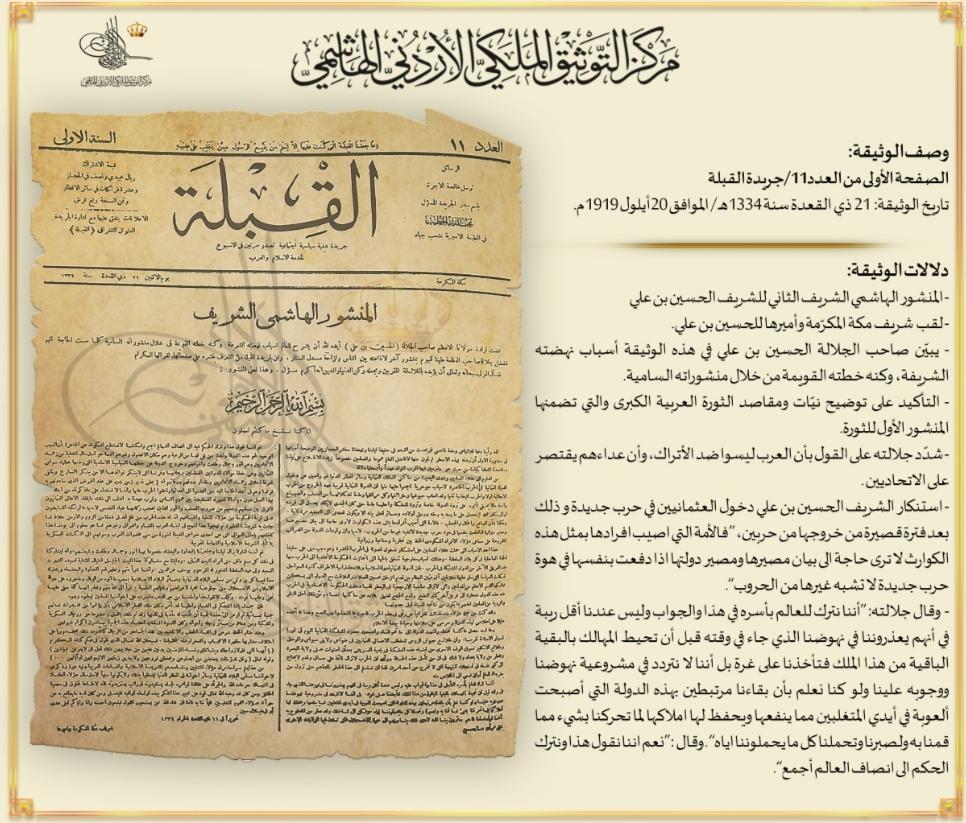 عرض مركز التوثيق الملكي الأردني الهاشمي، وبمناسبة الذكرى الخامسة بعد المئة لقيام الثورة العربية الكب